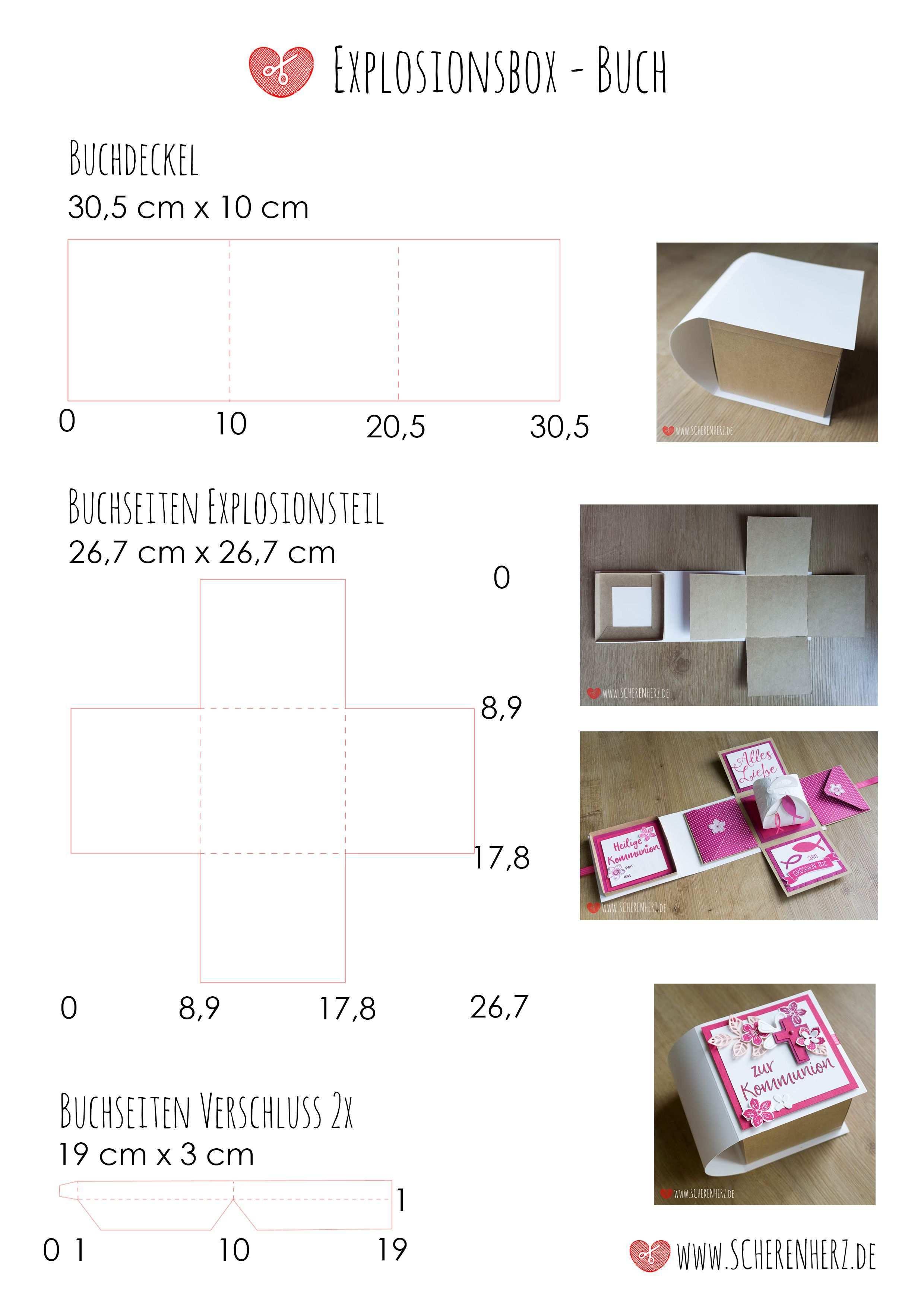 Anleitung Explosionsbuch Anleitungen Scherenherz Explosionsbox Box Geschenkbox Basteln Anleitung