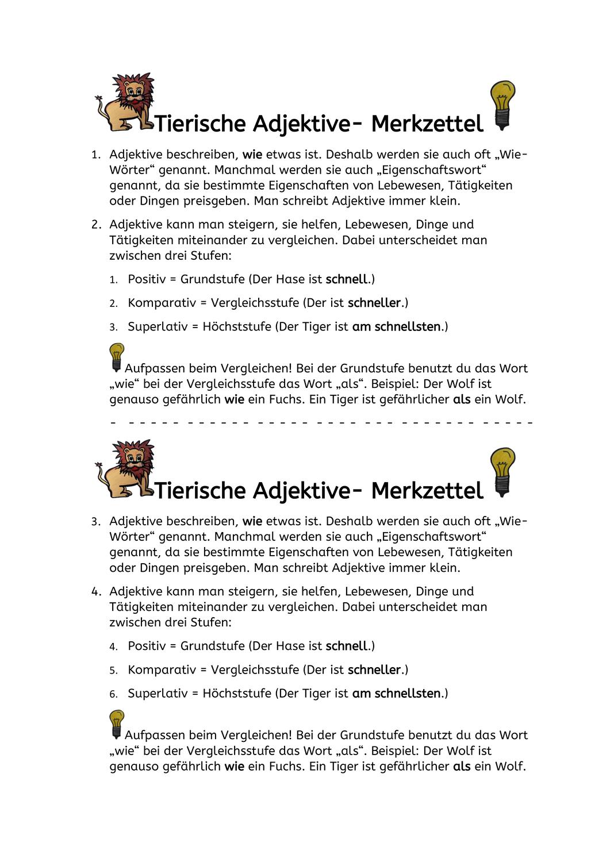 Tierische Adjektive Steigern Fabeln Unterrichtsmaterial Im Fach Deutsch Fabeln Adjektive Adjektive Steigern