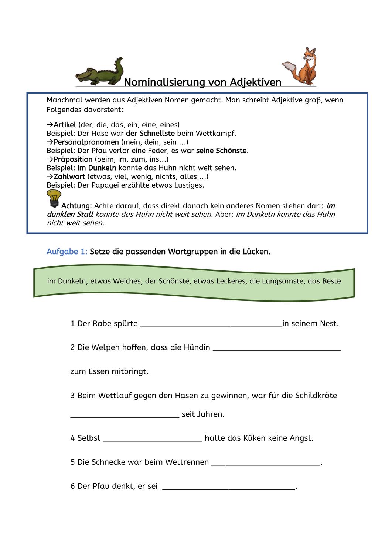 Nominalisierte Verben Und Adjektive Fabeln Tiere Unterrichtsmaterial Im Fach Deutsch Nominalisierte Verben Adjektive Verben