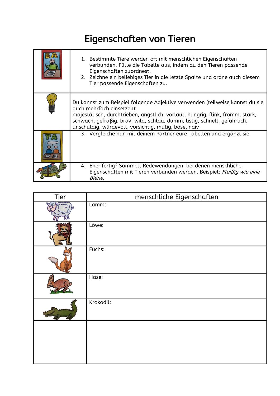 Tierische Eigenschaften Fabeln Fabeln Unterrichtsmaterial Deutsch Lernen