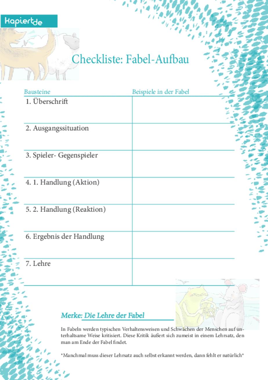 Checkliste Fabel Aufbau Kapiert De Fabel Checkliste Fabeln