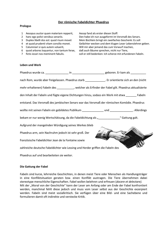 Phaedrus Fabeln Texte Aufgaben Latein Fabeln Biografie Unterrichtsmaterial
