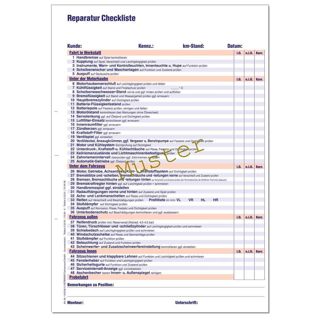 Reparatur Checkliste Din A4 Werkstattformulare Kfz Formulare Hermann Fachversand