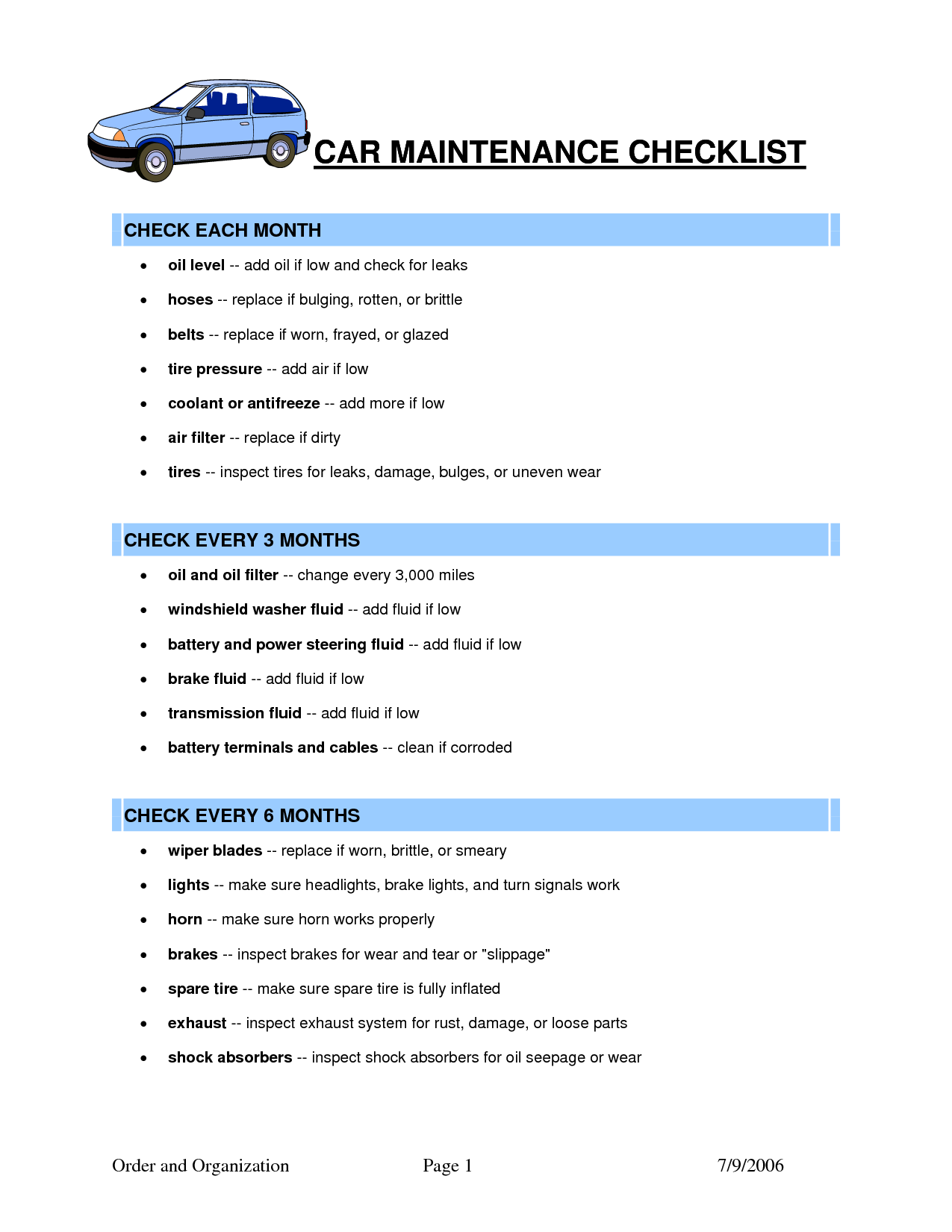 Vorlage Fur Die Checkliste Fur Die Fahrzeugwartung Checkliste Die Fahrzeugwartung Fur Car Maintenance Car Care Car Care Checklist