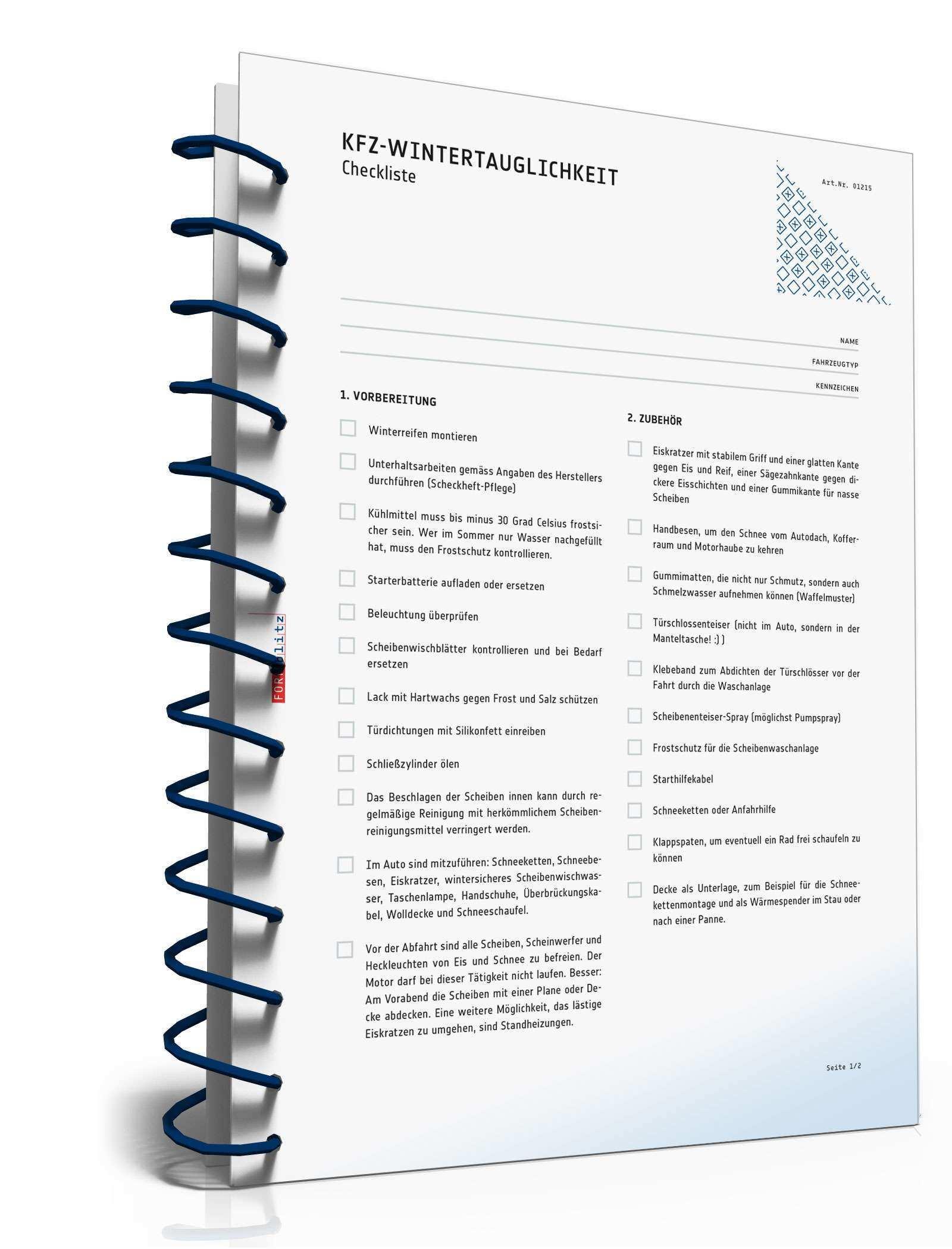 Fahrzeug Checkliste Winter Checkliste Zum Download