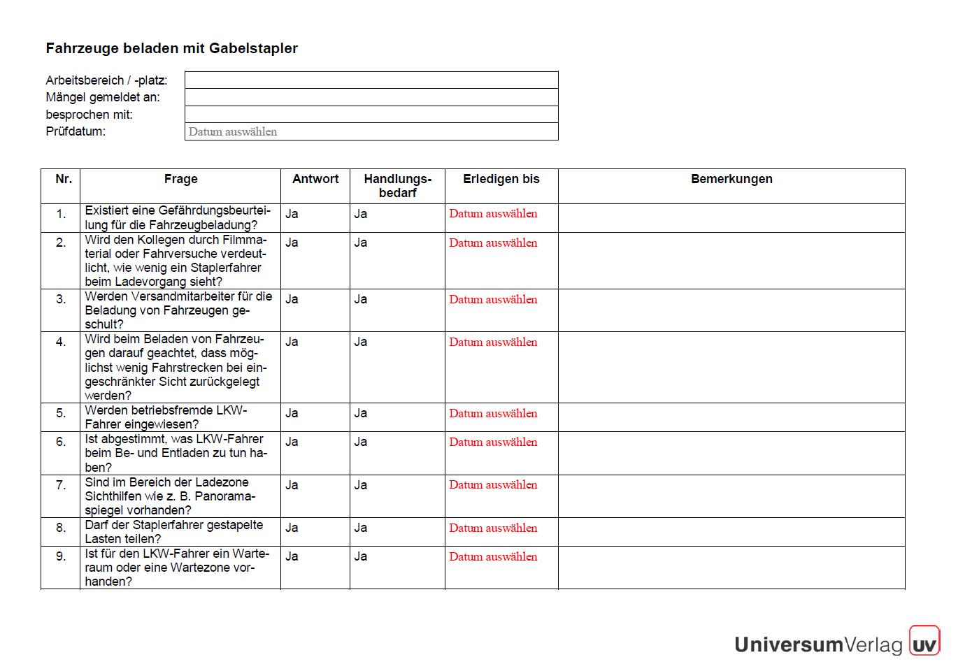 Checkliste Fahrzeuge Beladen Mit Gabelstapler Sofort Download