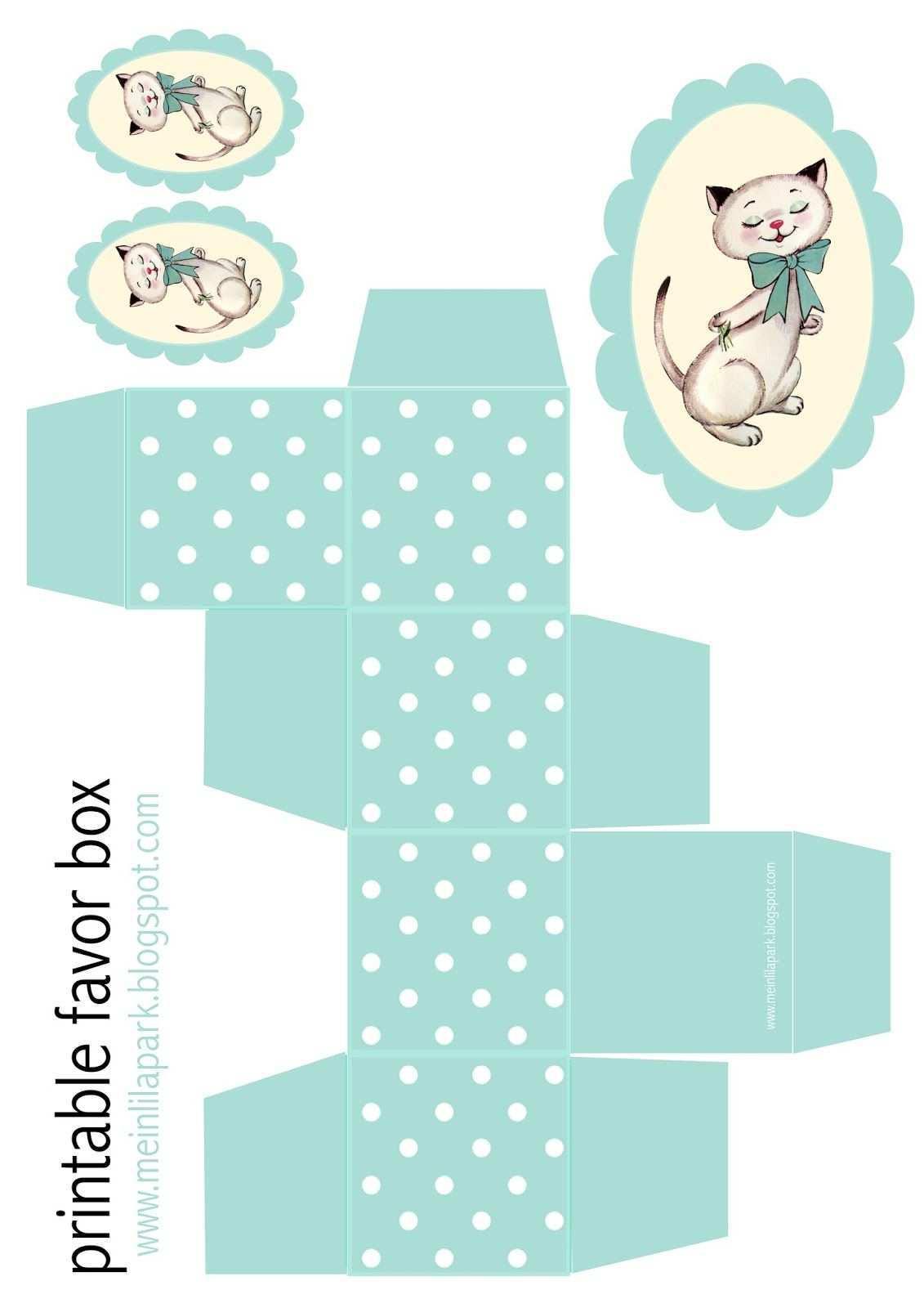 Free Printable Polka Dot Box And Kitty Tag Ausdruckbare Geschenkbox Freebie Pappschachtel Vorlage Geschenkbox Aus Papier Basteln Mit Papier