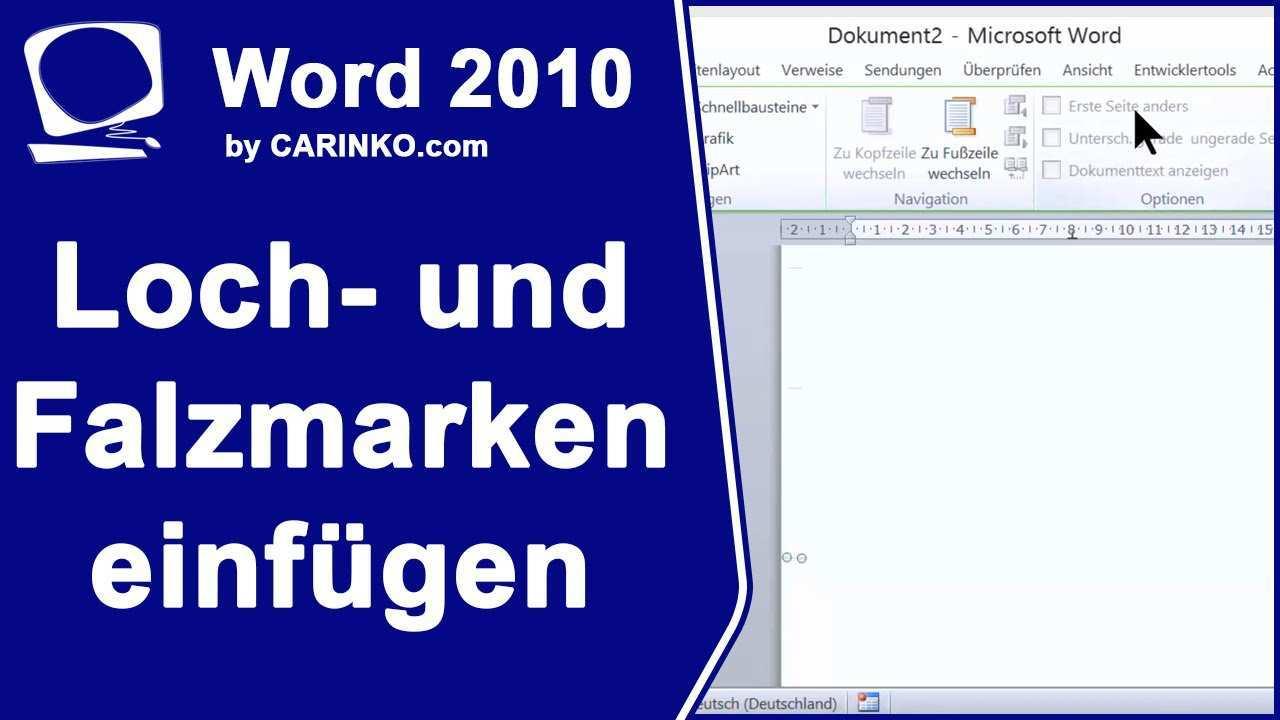 Loch Und Falzmarken In Word Einfugen Carinko Com Youtube