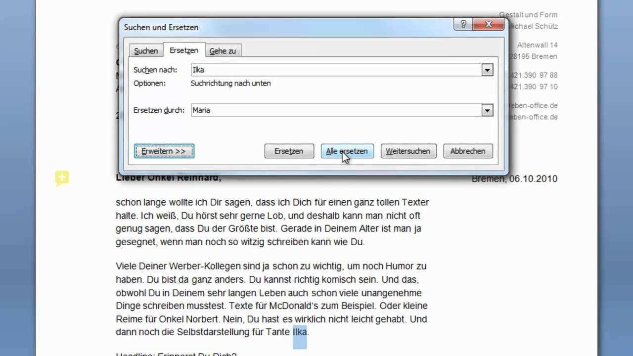 Word 2007 Suchen Und Ersetzen Youtube