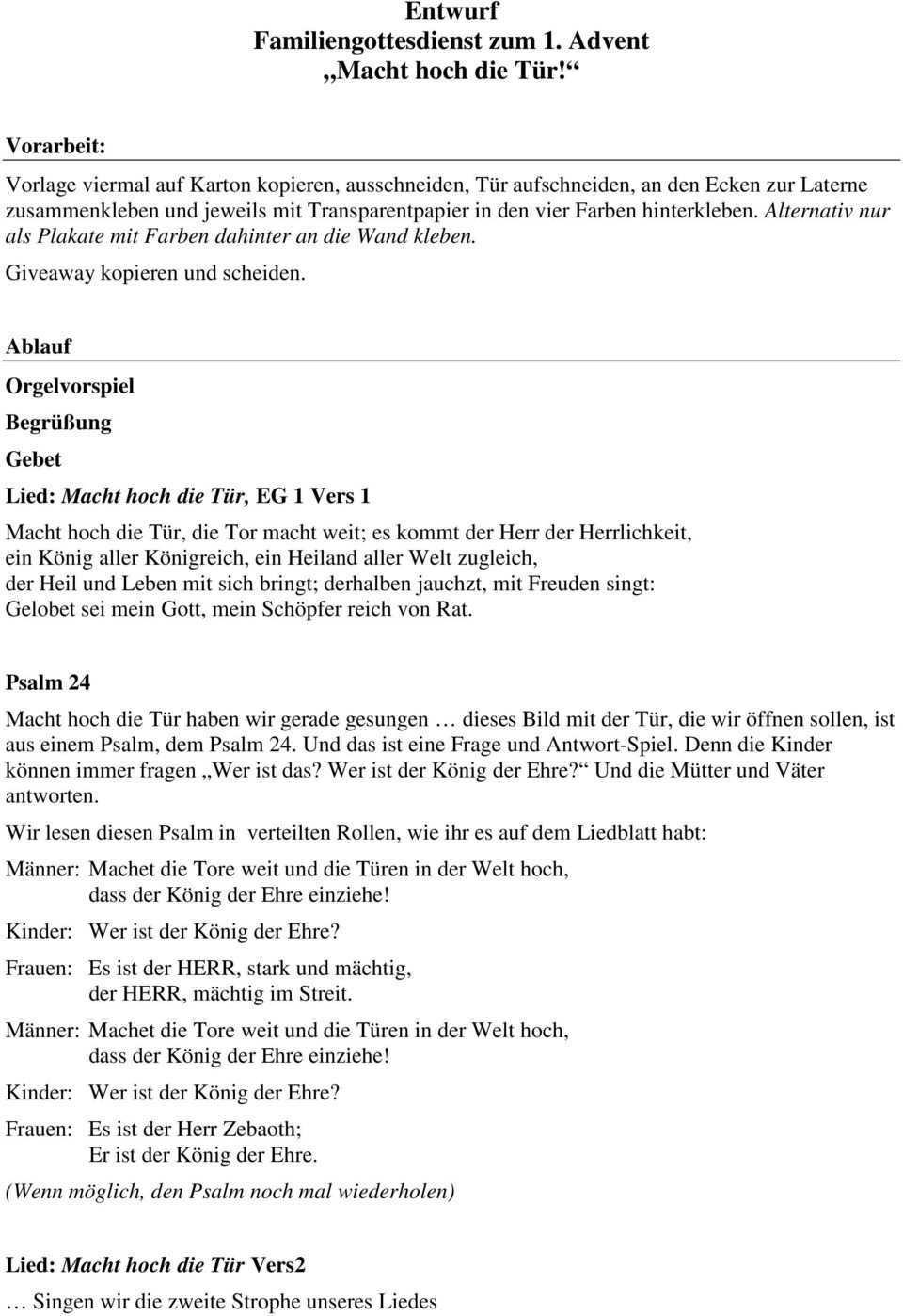 Entwurf Familiengottesdienst Zum 1 Advent Macht Hoch Die Tur Pdf Kostenfreier Download