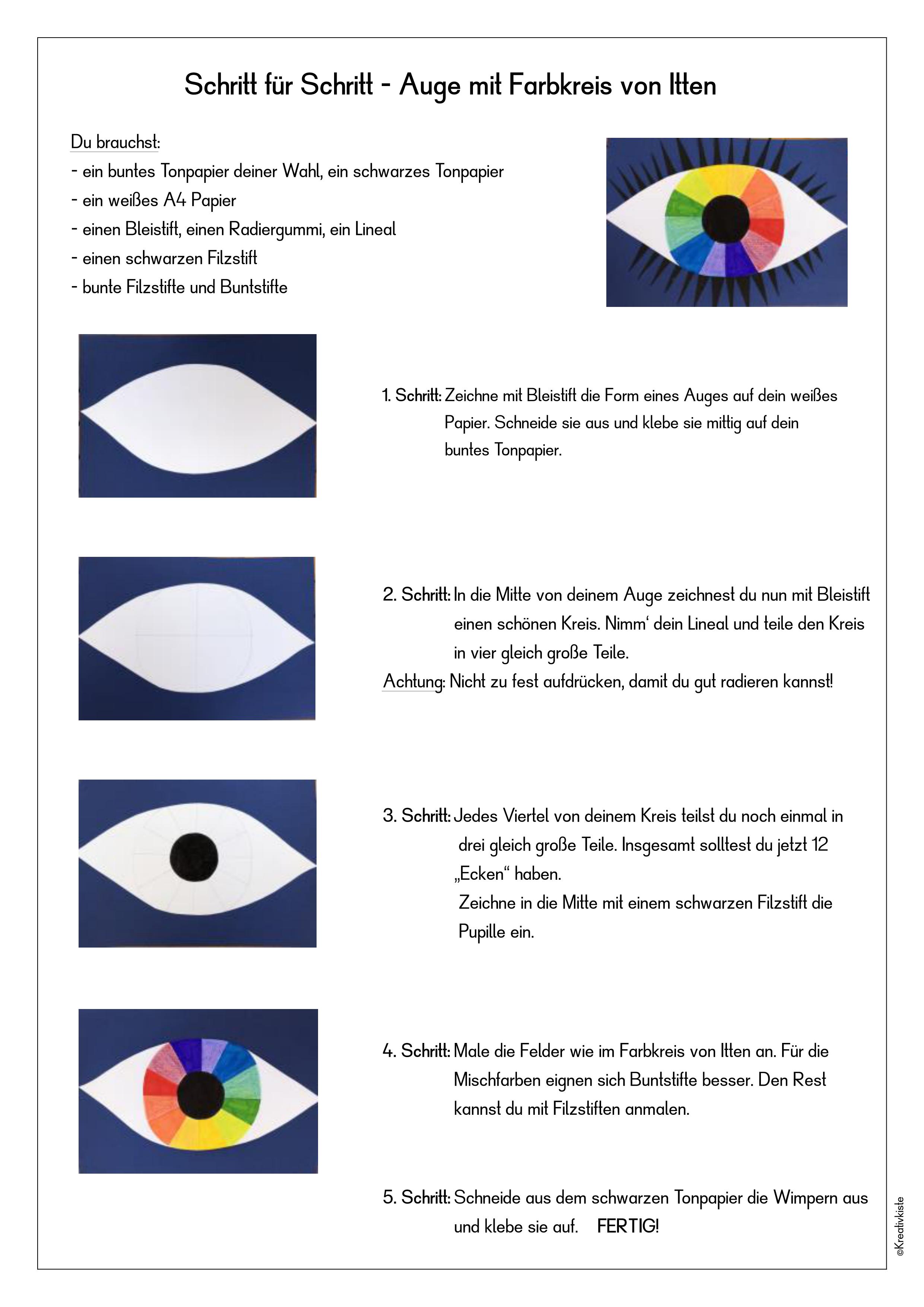 Kunst Farbenlehre Auge Mit Farbkreis Von Itten Unterrichtsmaterial Im Fach Kunst Farben Lehre Farben Kunstunterricht Farbenlehre