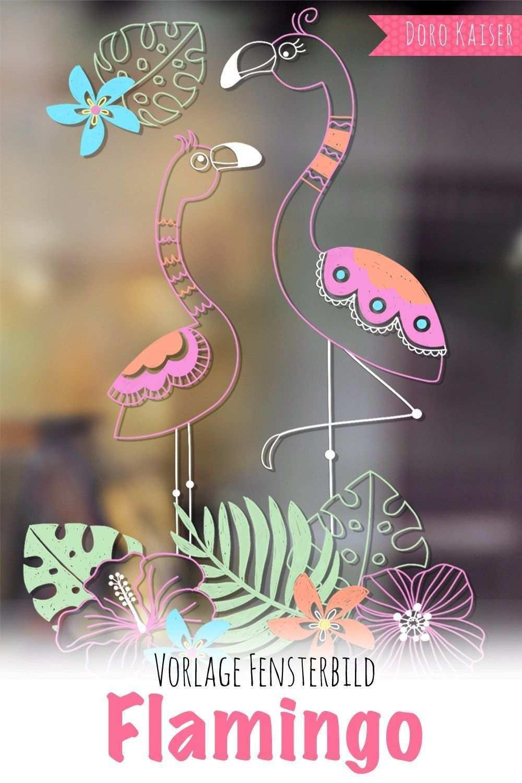 Freebie Vorlage Fur Ein Fensterbild Mit Flamingo Doro Kaiser Grafik Illustration Fensterbilder Flamingo Kreidemalerei