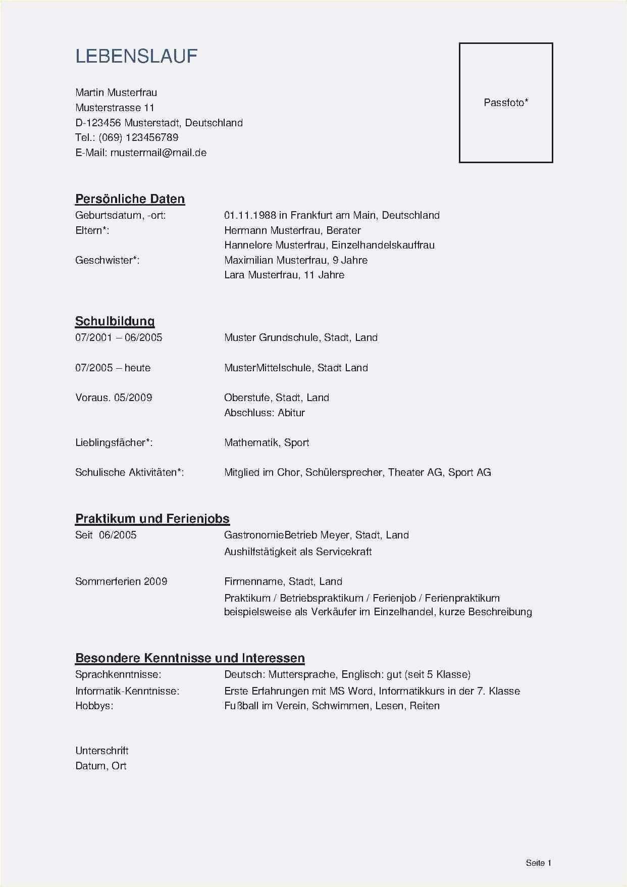 Einzigartig Lebenslauf Ohne Bild Briefprobe Briefformat Briefvorlage Lebenslauf Lebenslauf Muster Vorlagen Lebenslauf