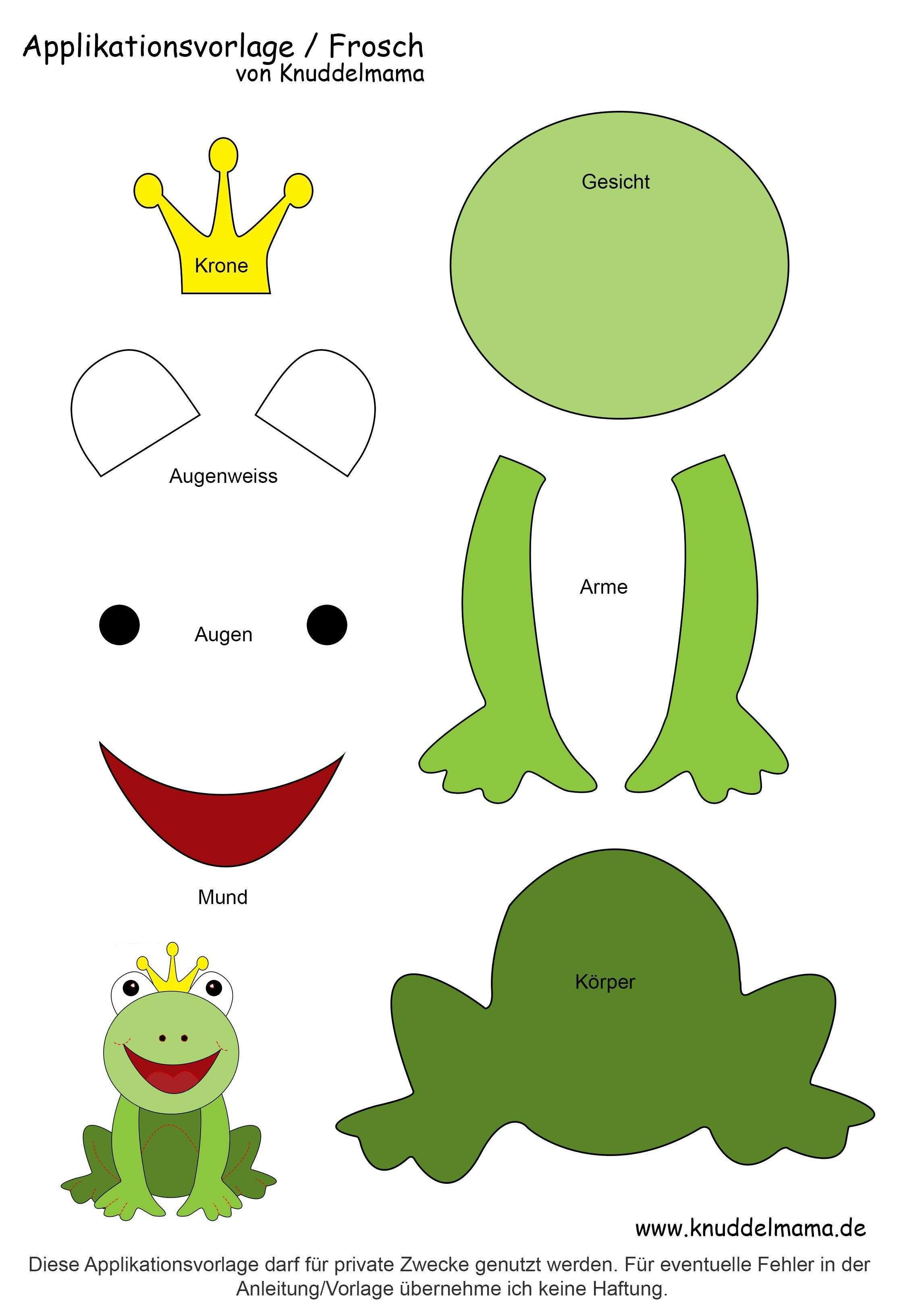 Froschvorlage Applikation Vorlagen Applikationsvorlage Frosch Basteln