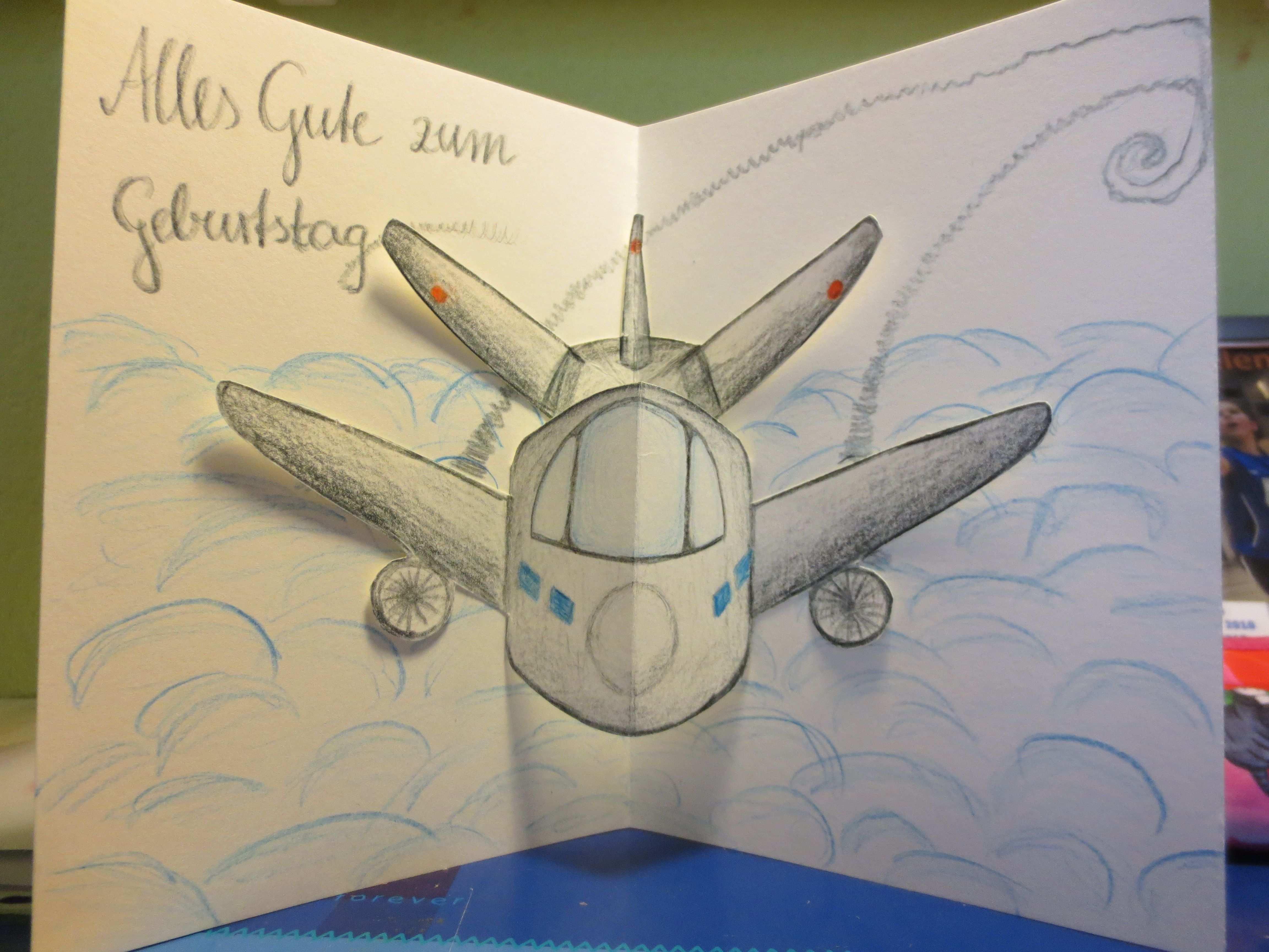 Popupkarte Flugzeug Flugzeug Basteln Gutschein Basteln Flugzeugs Geburtstag