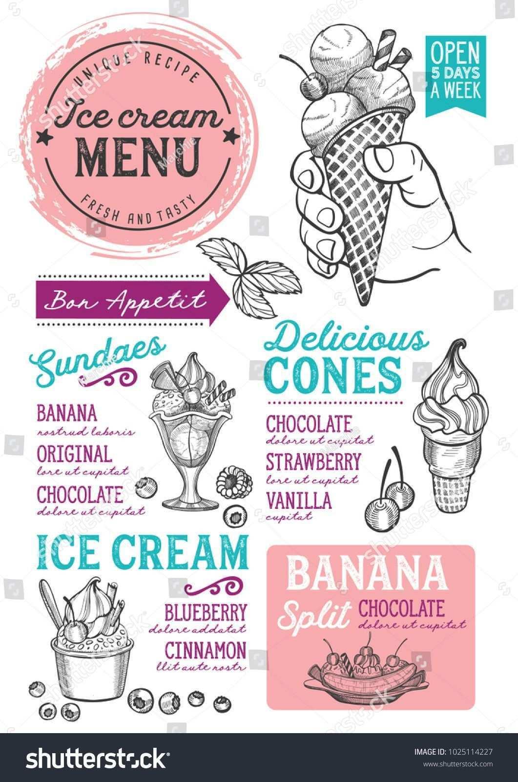 Ice Cream Restaurant Menu Vector Dessert Food Flyer For Bar And Cafe Design Template With Vintage Hand Drawn Illustr Menu De Helados Diseno De Helado Helados