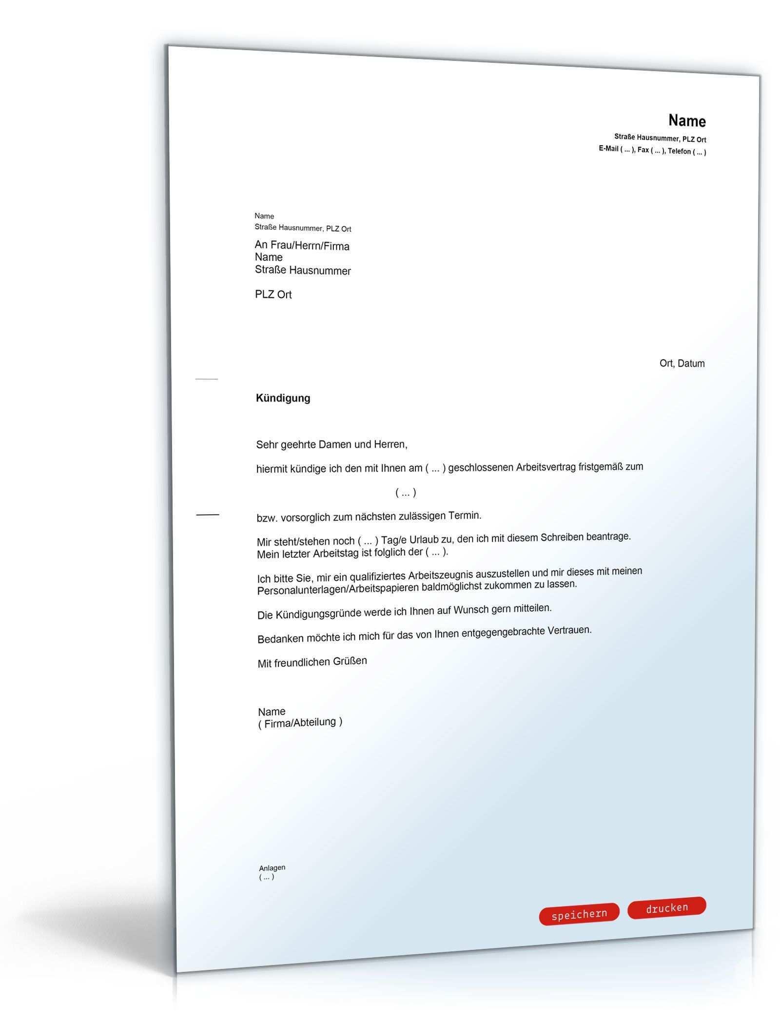 Kundigung Vorlage Arbeitsvertrag Kostenlos Lebenslauf Vorlagen Word Empfehlungsschreiben