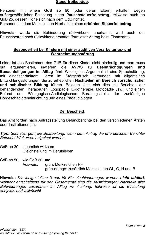 Infoblatt Zum Thema Schwer Behinderung Bei Peripher Horgeschadigten Kindern Und Kindern Mit Zentralen Horstorungen Pdf Kostenfreier Download