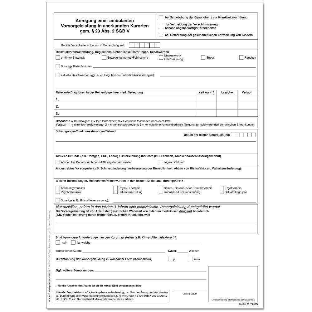 Anregung Einer Ambulanten Vorsorgeleistung In Anerkannten Kurorten Gemass 23 Abs 2 Sgb V Muster 25