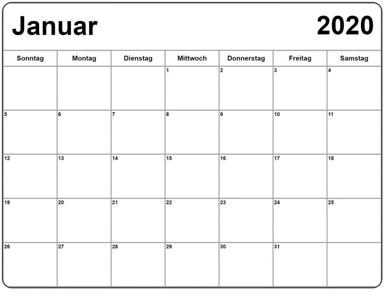 Kalender Januar 2020 Zum Ausdrucken Bild Calendar Template Monthly Calendar Template Printable Calendar Template