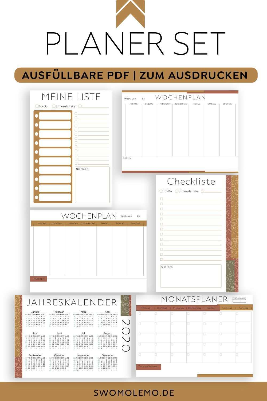 Kalender 2020 Vorlagen Set Zum Ausdrucken Ausfullbare Pdf Dateien Terracotta Optik In 2020 Planer Vorlagen Kalender Vorlagen Druckbare Planer