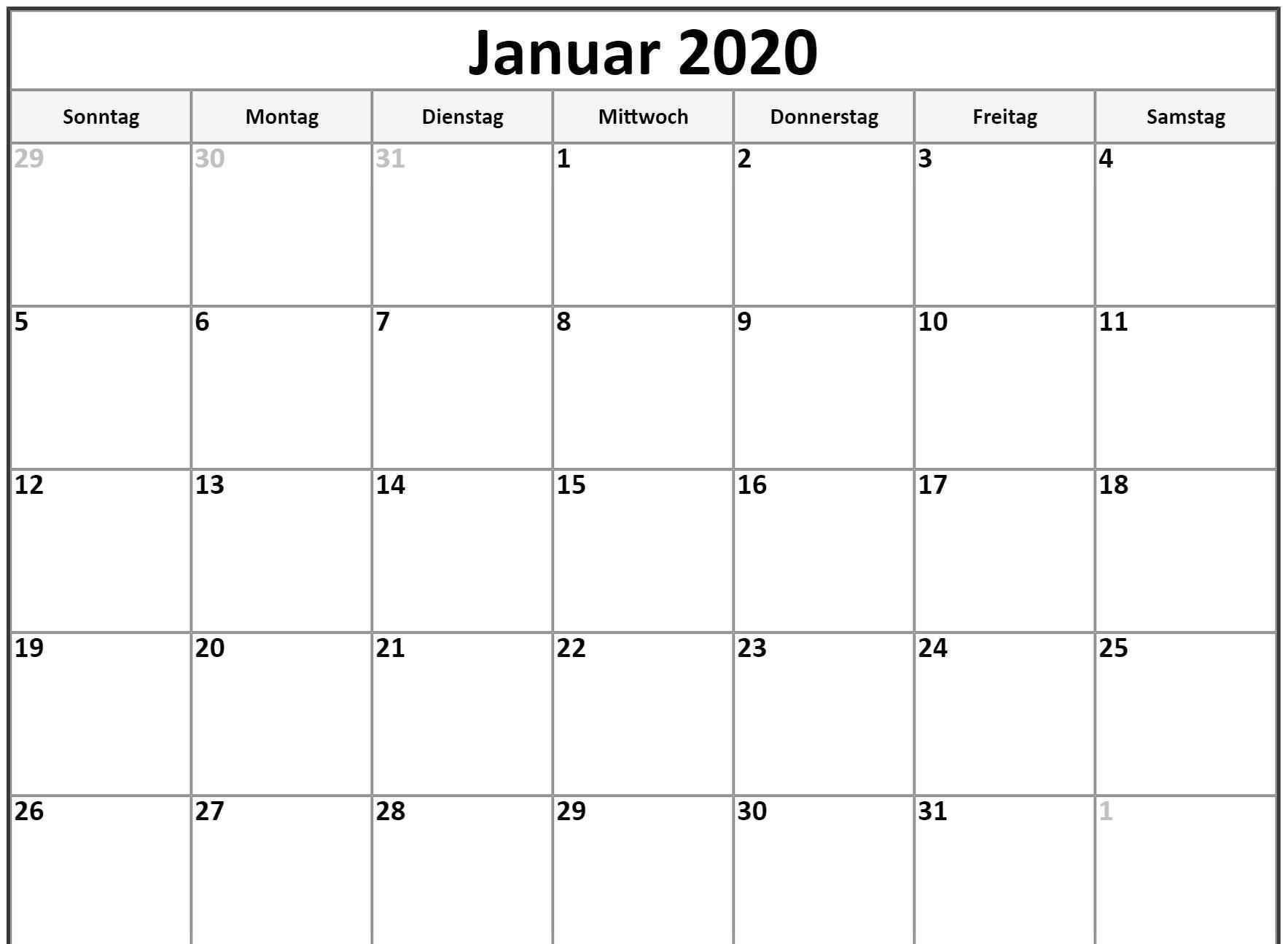 Januar 2020 Kalendervorlage 2019 Kalender Leerer Kalender Kalender