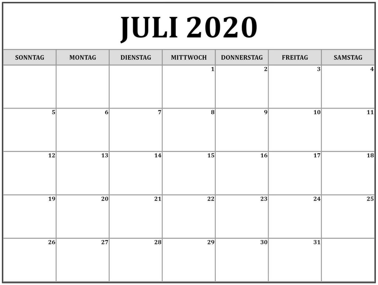 Kalender Juli 2020 Zum Ausdrucken Nosuvia Com Calendar Printables Calendar Monthly Calendar Printable