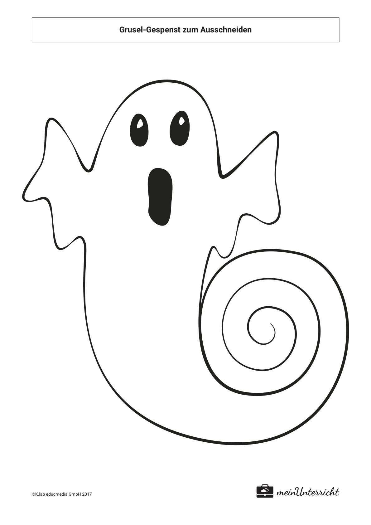 Grusel Gespenst Zum Ausschneiden Meinunterricht De Halloween Basteln Vorlagen Basteln Halloween Halloween Katze Basteln