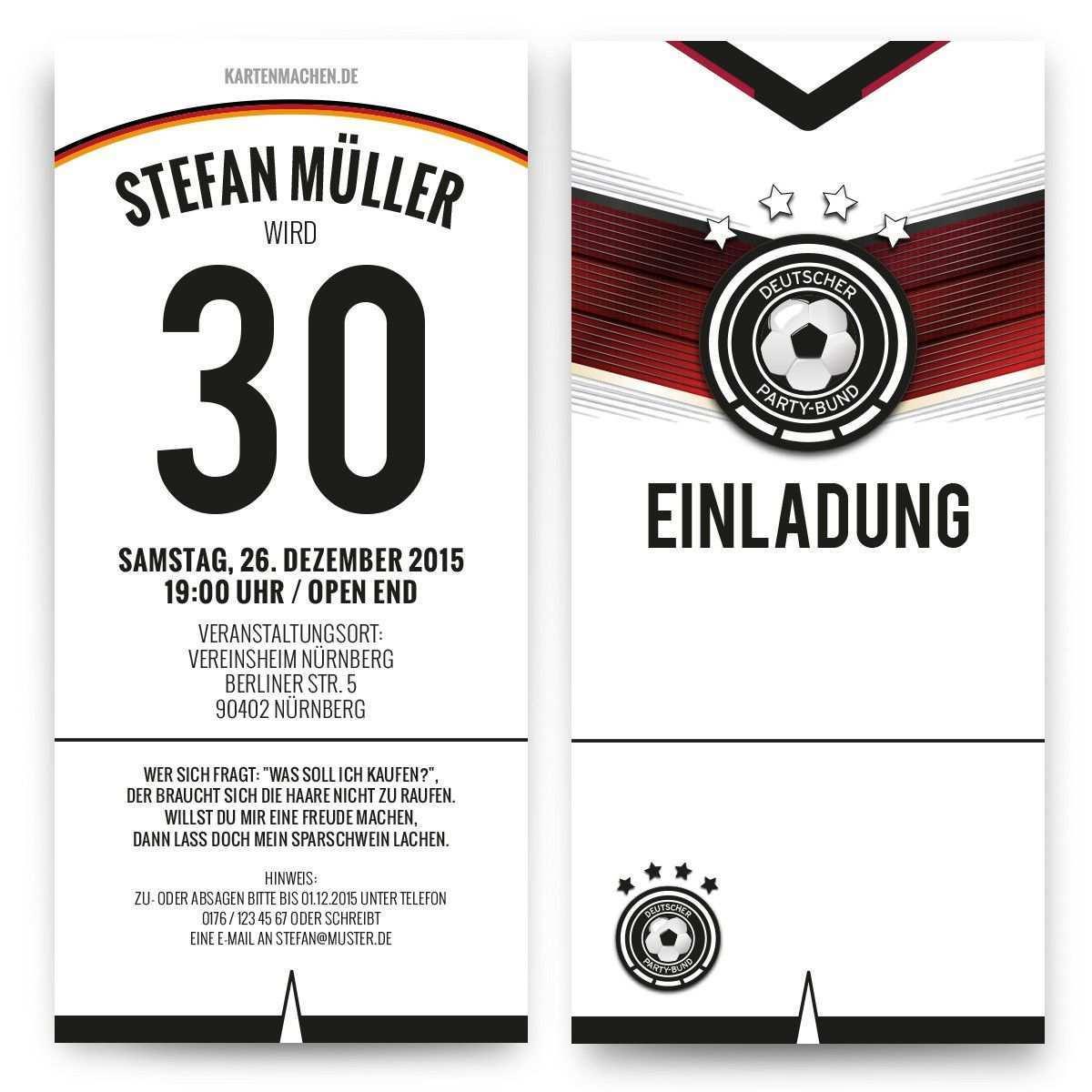 Einladungskarten Als Deutschland Trikot Geburtstag Einladung Geburtstagseinladun Einladungskarten Kindergeburtstag Kindergeburtstag Fussball Kindergeburtstag