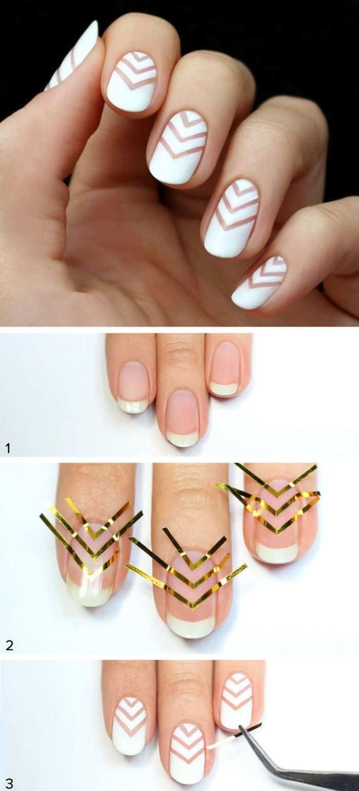 0 Nagel Muster Nageldesign In Weiss Mit Geometrischen Figuren Selber Machen Nagel Motive Nageldesign Nageldesigns