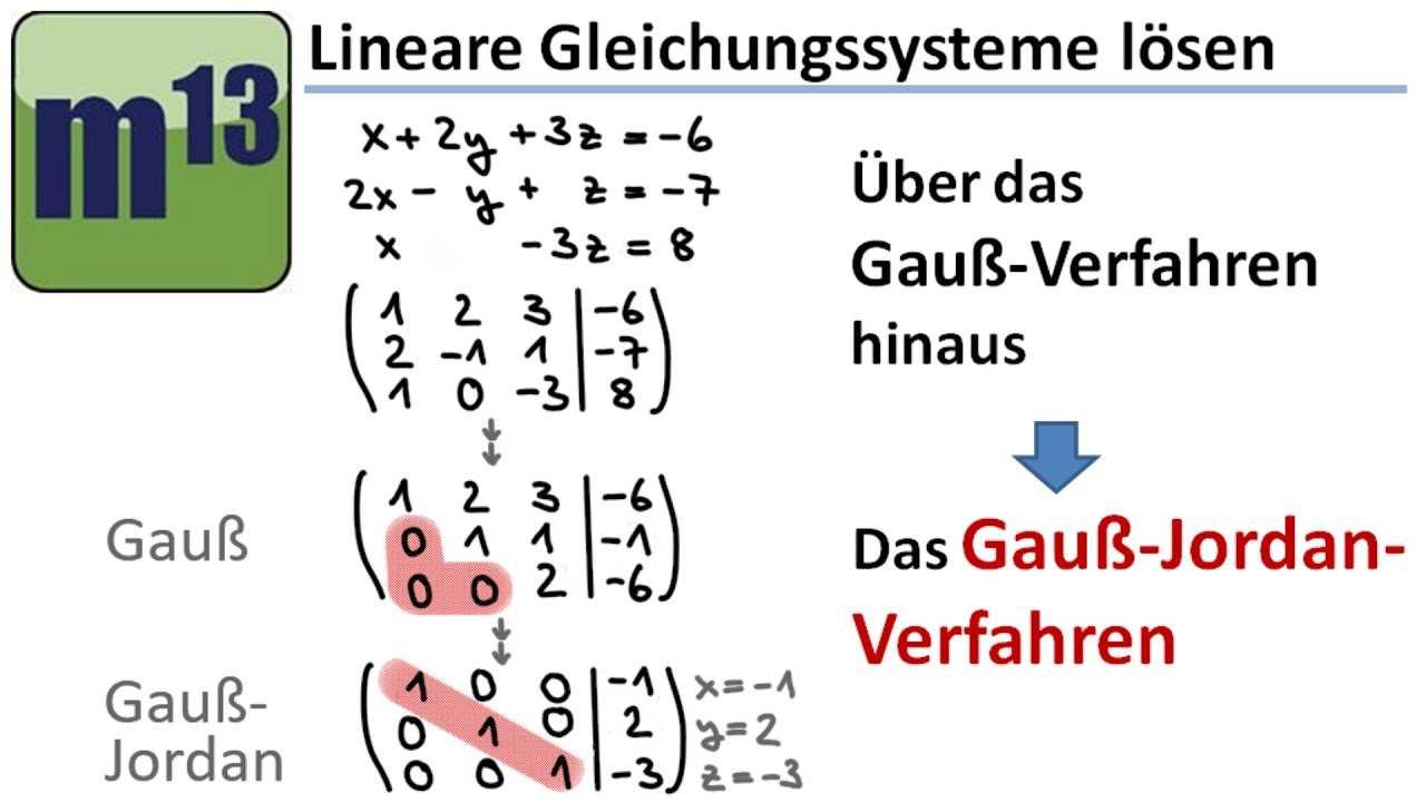 Gauss Jordan Verfahren Zum Losen Von Linearen Gleichungssystemen Youtube