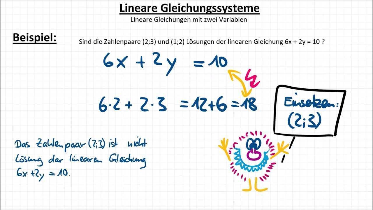 Lineare Gleichungen Mit Zwei Variablen 1 Einstieg Mit Beispiel Lgs Lineares Gleichungssystem Youtube