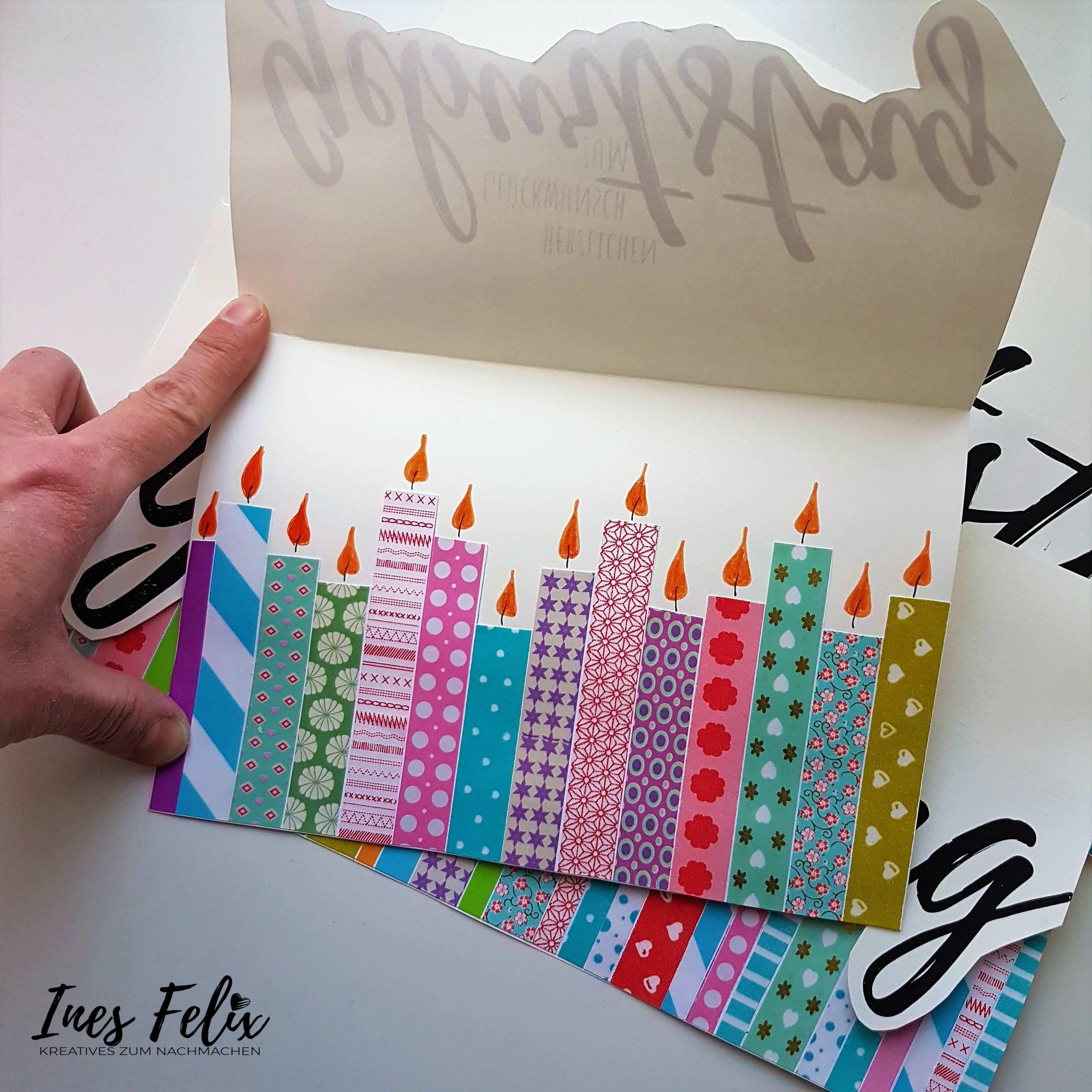 Geburtstagskarte Mit Kerzen Aus Masking Tape Bunt Schon Und Schnell Gemacht Mit Vorlage Zum Ausdruc Karte Basteln Geburtstag Geburtstagskarte Karten Basteln