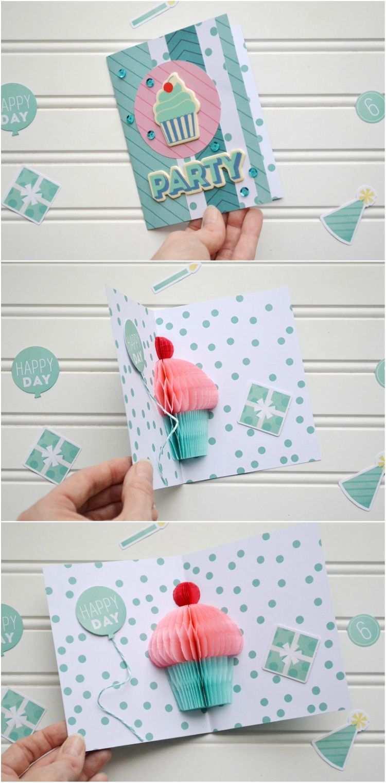 Pop Up Karte Zum Geburtstag Selber Machen Einfache Anleitung Und Ideen Schwest Popup Karten Basteln Geburtstag Karten Selber Machen Karte Basteln Geburtstag