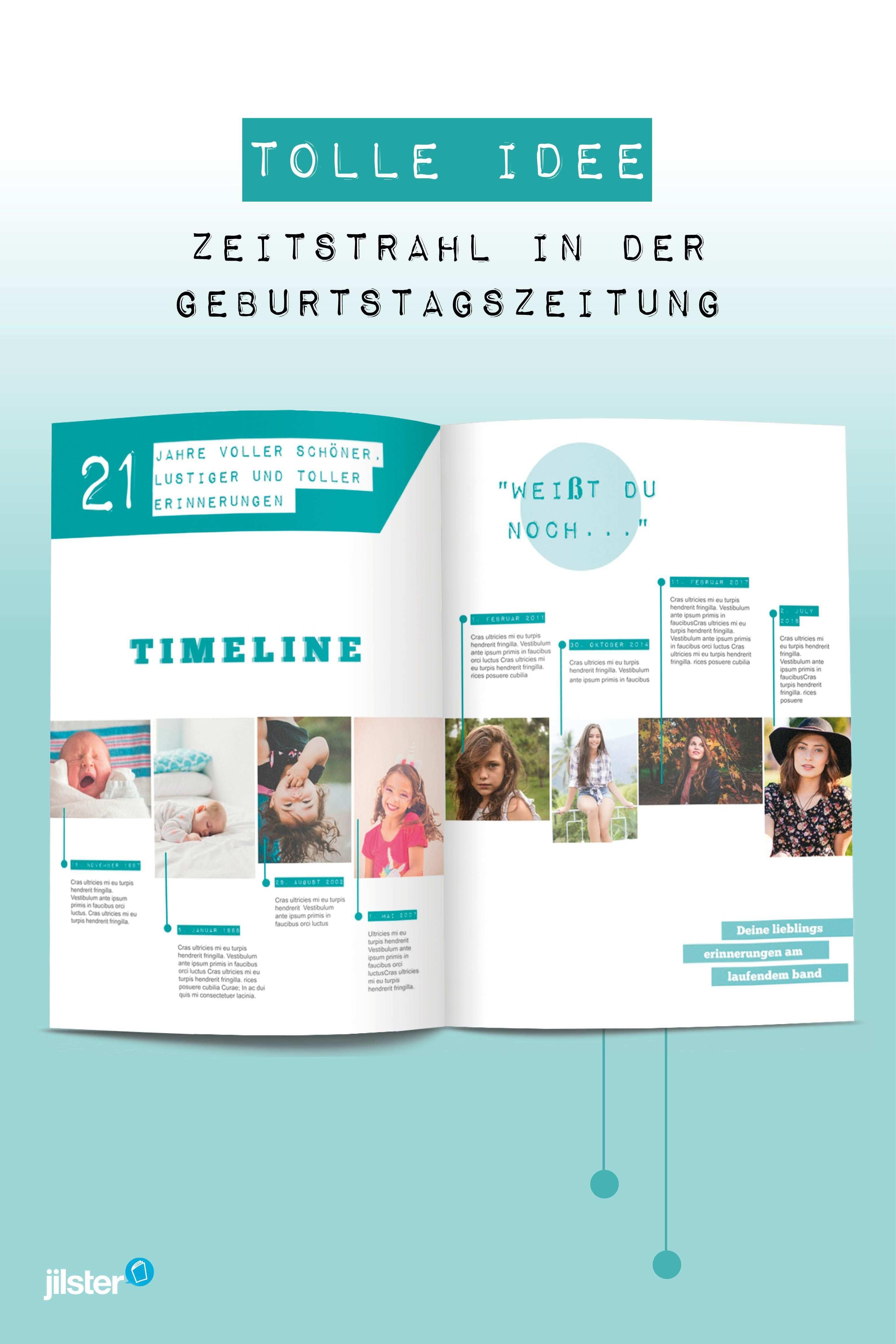 Einen Zeitstrahl Fur Die Geburtstagszeitung Gestalten Jilster Blog Geburtstagszeitung Geburtstagsbuch Hochzeitszeitung Ideen