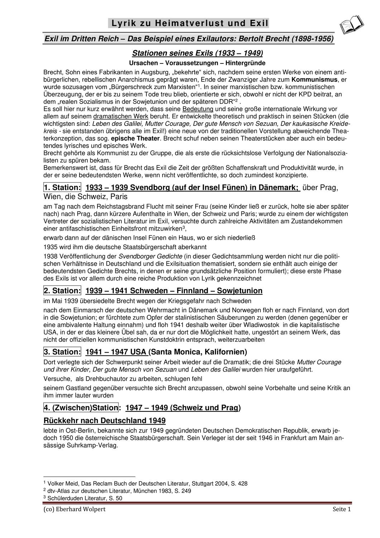 Bertolt Brecht 6 Exilgedichte Beispiele Fur Heimatverlust Und Exil Unterrichtsmaterial Im Fach Deutsch Deutsch Unterricht Gedichte Deutsch Lernen