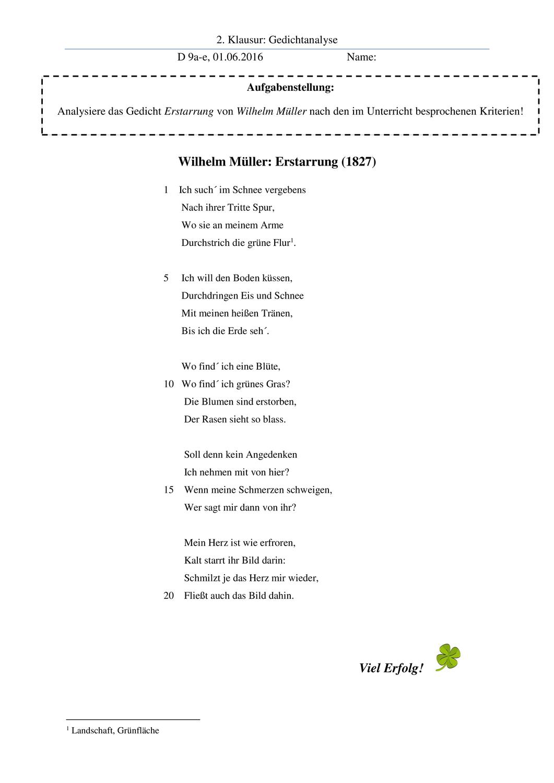 Gedichtanalyse Erstarrung Muller Liebeslyrik Klasse 9 Liebeslyrik Gedicht Analyse Gedichte