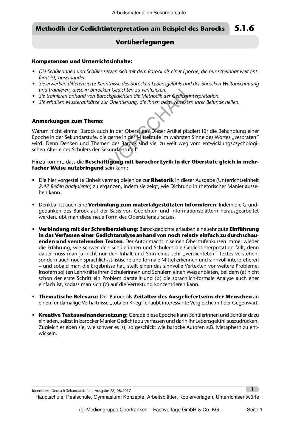 Methodik Der Gedichtinterpretation Am Beispiel Des Barocks Edidact