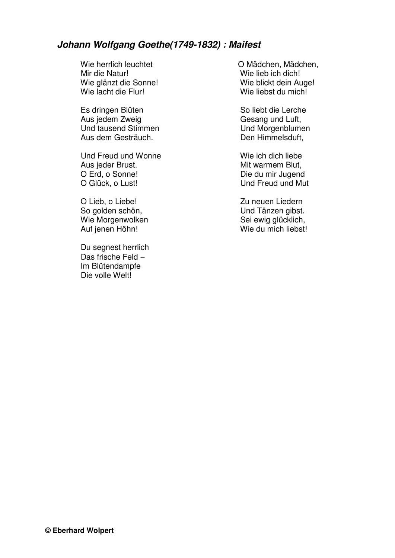 Goethe Maifest Gedichtinterpretation Sturm Und Drang Unterrichtsmaterial Im Fach Deutsch Sturm Und Drang Sturm Gedichte