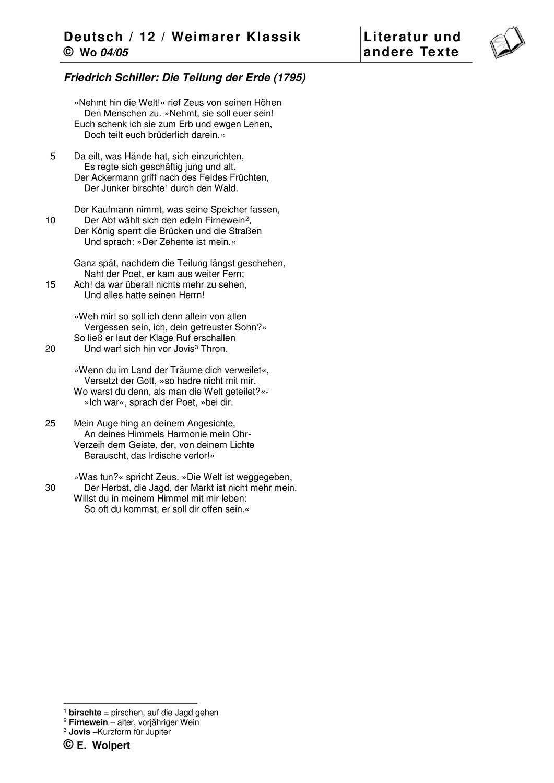 Schiller Teilung Der Erde Text Mit Gedichtinterpretation Gedichte Teilung Klassik Literatur