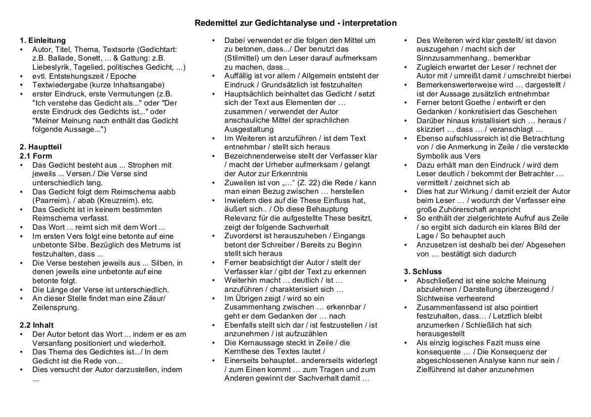Redemittel Gedichtanalyse Jpg 1169 826 Gedicht Analyse Gedichte Motivationsschreiben Studium