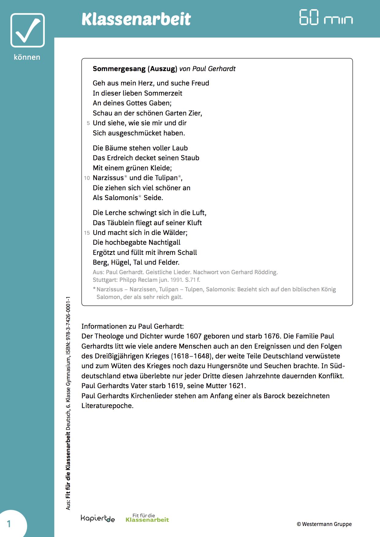 Klassenarbeit Gedichtinterpretation Klassenarbeiten Erste Klasse Deutsche Gedichte