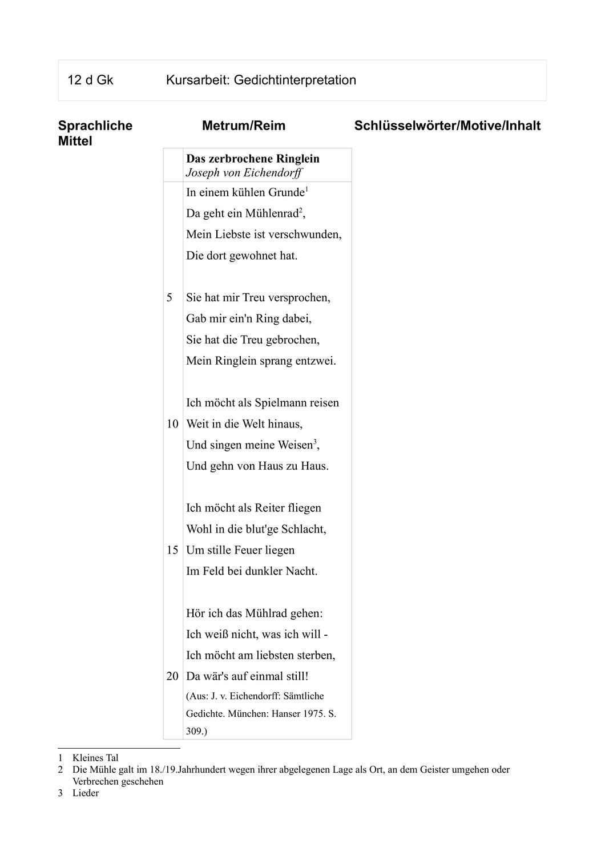 Ka Eh 2 Gedichtinterpretation Das Zerbrochene Ringlein Unterrichtsmaterial Im Fach Deutsch Gedicht Analyse Gedichte Lernen