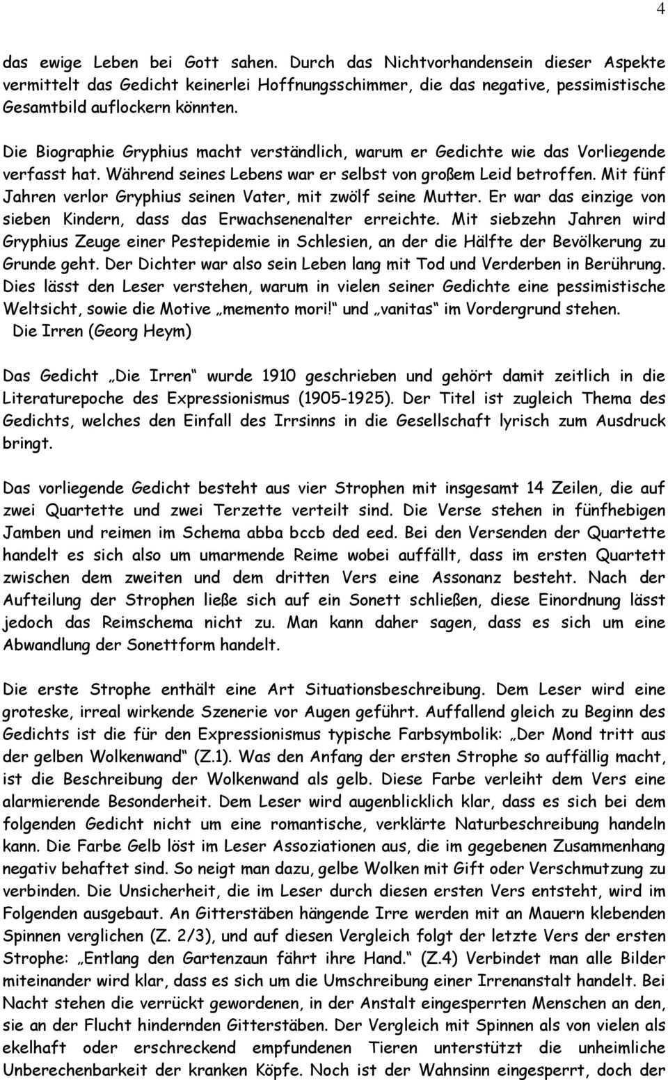 Lyrikinterpretation Und Gedichtvergleich Barock Expressionismus Pdf Free Download