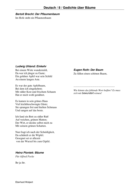 Gedichtvergleich Gedichte Uber Baume Etwa Klasse 8 Gymnasium Gymnasium Gedichte Deutsche Gedichte