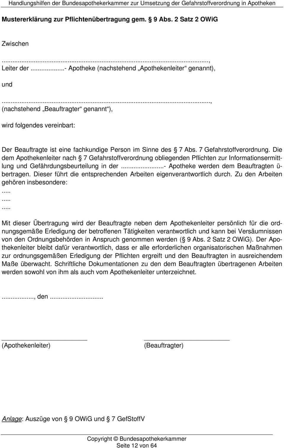 Handlungshilfen Der Bundesapothekerkammer Umsetzung Der Gefahrstoffverordnung In Apotheken Pdf Free Download