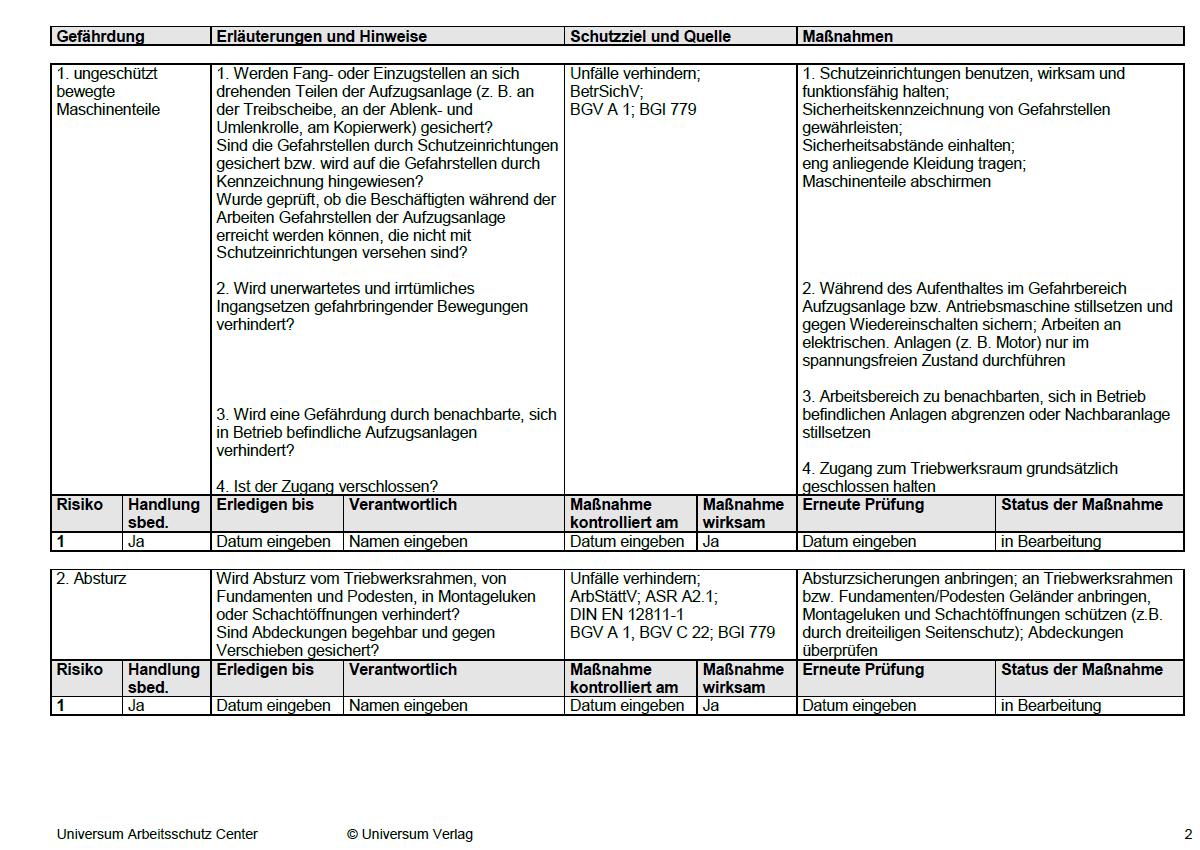 Gefahrdungsbeurteilung Arbeiten Im Triebwerksraum Sofort Download