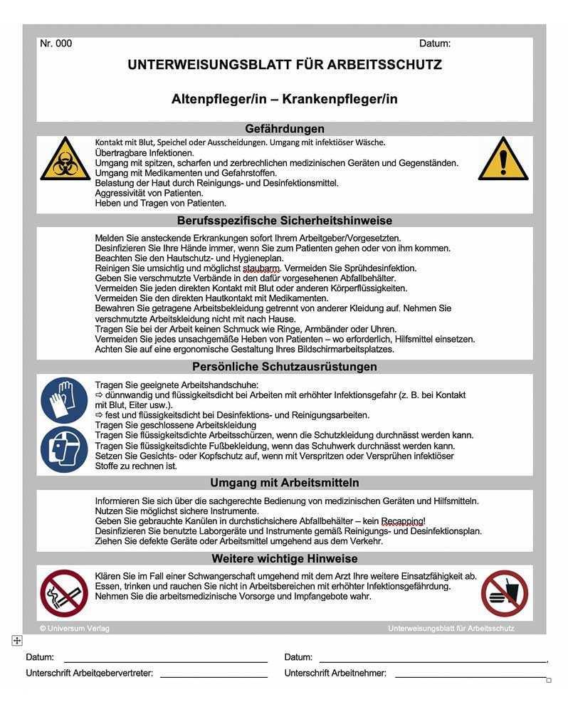 Vorlagen Formulare Arbeitsschutz Center Universum Verlag