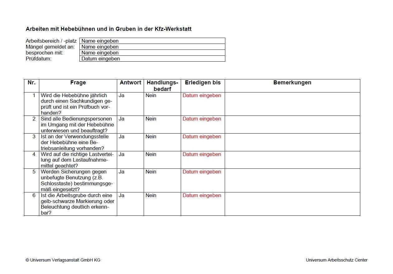Checkliste Arbeiten Mit Hebebuhnen Und In Gruben In Der Kfz Werkstatt Zum Sofort Download