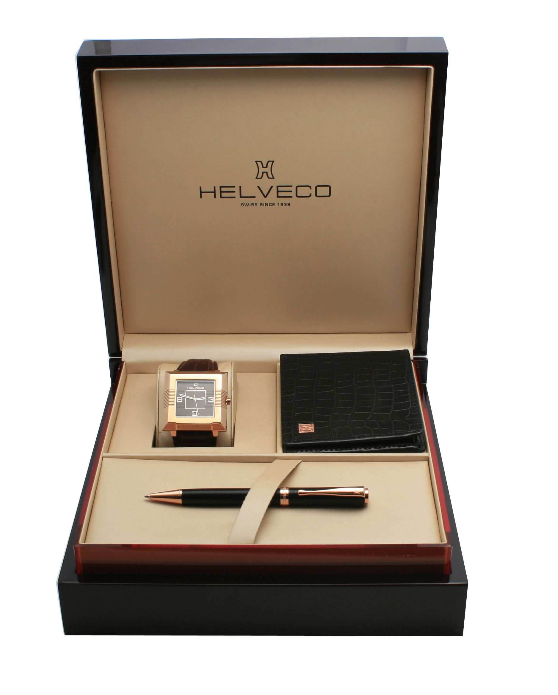 Helveco Gift Set With The Luxury Wooden Box Swiss Watch Pen And Wallet